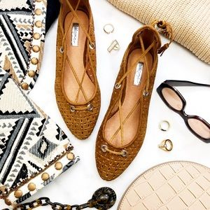 Cognac Perforated Suede Lace Up Flats